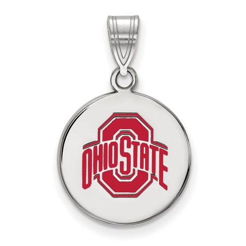 Ohio State Buckeyes Sterling Silver Medium Enameled Disc Pendant