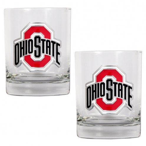 Ohio State Buckeyes College 2-Piece 14 Oz. Rocks Glass Set