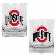 Ohio State Buckeyes College 2-Piece 14 Oz. Rocks Glass Set