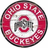 Ohio State Buckeyes Distressed Round Sign