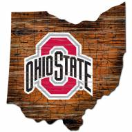 Ohio State Buckeyes Distressed State with Logo Sign