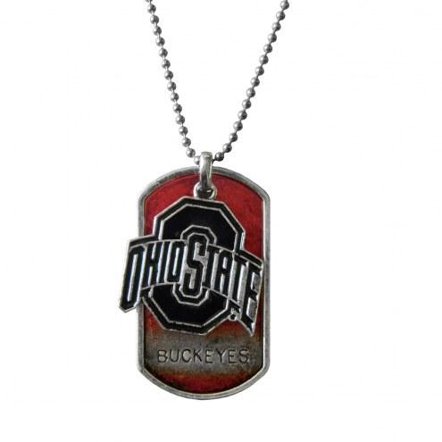 Ohio State Buckeyes Dog Tag Charm Necklace