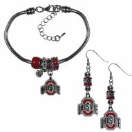 Ohio State Buckeyes Euro Bead Earrings & Bracelet Set