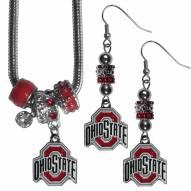 Ohio State Buckeyes Euro Bead Earrings & Necklace Set
