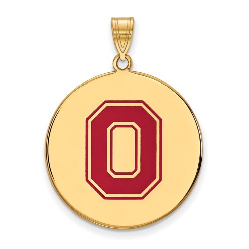 Ohio State Buckeyes Sterling Silver Gold Plated Extra Large Enameled Disc Pendant