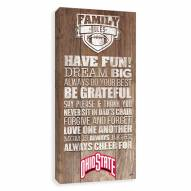 Ohio State Buckeyes Family Rules Icon Wood Printed Canvas