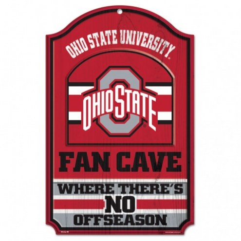 Ohio State Buckeyes Fan Cave Wood Sign