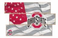 Ohio State Buckeyes Flag 3 Plank Sign