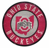 Ohio State Buckeyes Round State Wood Sign
