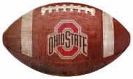 Ohio State Buckeyes Football Shaped Sign