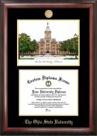 Ohio State Buckeyes Gold Embossed Diploma Frame with Campus Images Lithograph