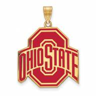 Ohio State Buckeyes Sterling Silver Gold Plated Extra Large Enameled Pendant