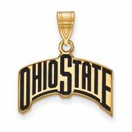 Ohio State Buckeyes Sterling Silver Gold Plated Large Enameled Pendant