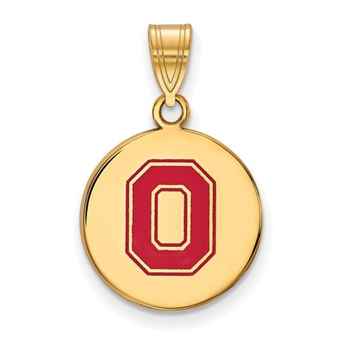 Ohio State Buckeyes Sterling Silver Gold Plated Medium Enameled Disc Pendant