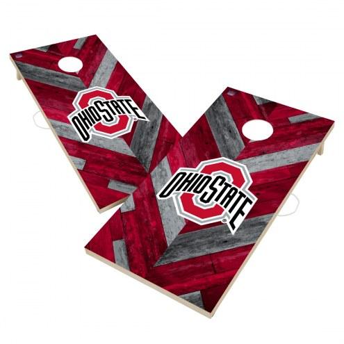Ohio State Buckeyes Herringbone Cornhole Game Set