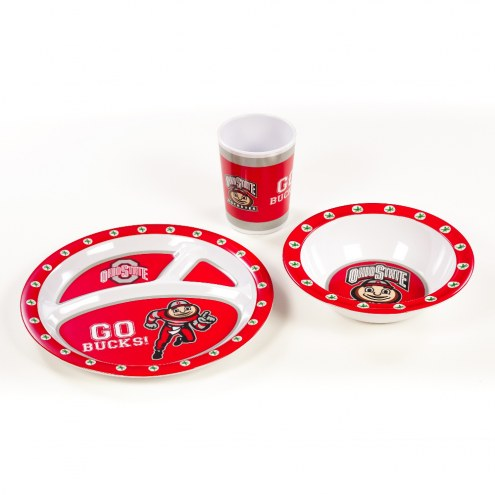 Ohio State Buckeyes Kid's 3 Piece Dish Set