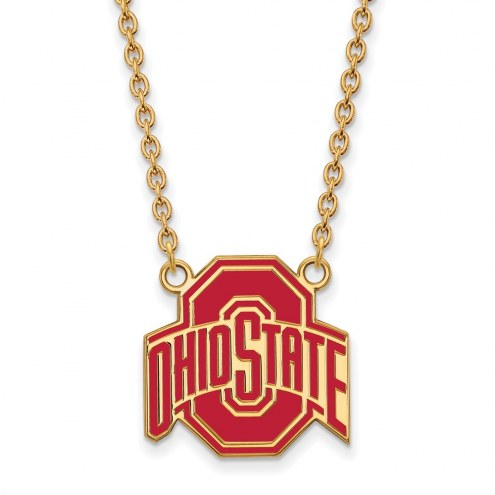 Ohio State Buckeyes Sterling Silver Gold Plated Large Enameled Pendant Necklace