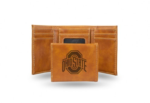 Ohio State Buckeyes Laser Engraved Brown Trifold Wallet