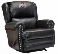Ohio State Buckeyes Leather Coach Recliner
