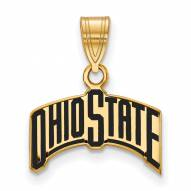 Ohio State Buckeyes Sterling Silver Gold Plated Medium Enameled Pendant