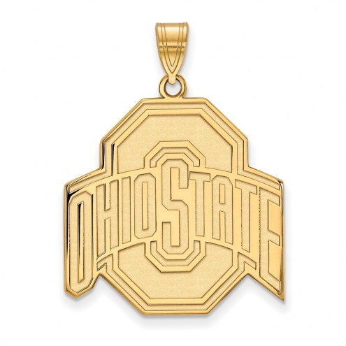 Ohio state buckeyes ncaa sterling silver gold plated extra large pendant aloadofball Image collections