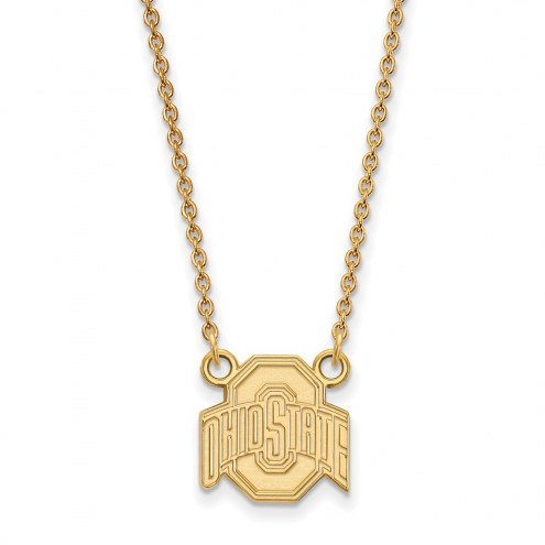 Ohio State Buckeyes NCAA Sterling Silver Gold Plated Small Pendant Necklace
