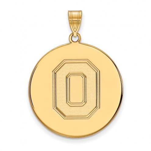Ohio State Buckeyes Sterling Silver Gold Plated Extra Large Disc Pendant