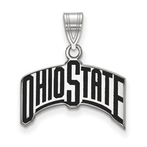 Ohio State Buckeyes Sterling Silver Large Enameled Pendant