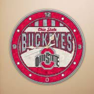 Ohio State Buckeyes NCAA Stained Glass Wall Clock