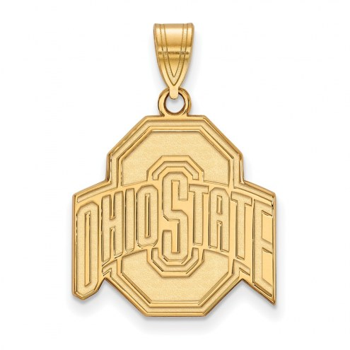Ohio State Buckeyes NCAA Sterling Silver Gold Plated Large Pendant