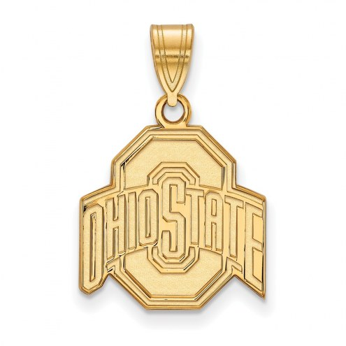 Ohio State Buckeyes NCAA Sterling Silver Gold Plated Medium Pendant