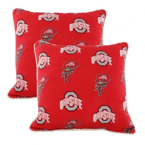 Ohio State Buckeyes Outdoor Decorative Pillow Set