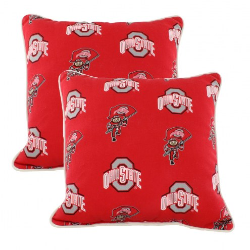 Ohio State Buckeyes Outdoor Decorative Pillow Set