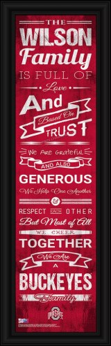Ohio State Buckeyes Personalized Family Cheer Framed Art