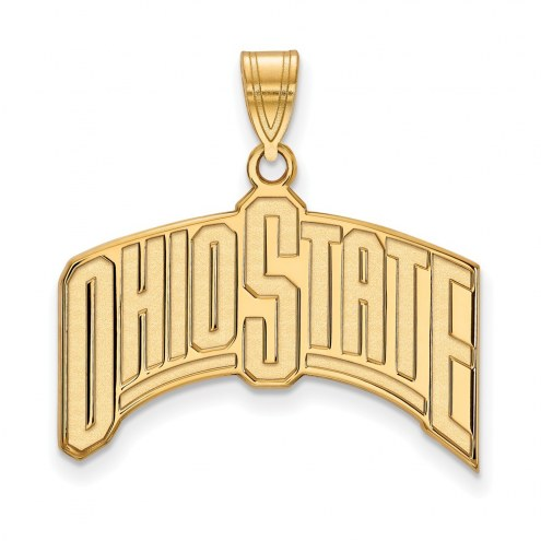Ohio State Buckeyes Sterling Silver Gold Plated Extra Large Pendant