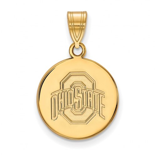 Ohio State Buckeyes Sterling Silver Gold Plated Medium Disc Pendant