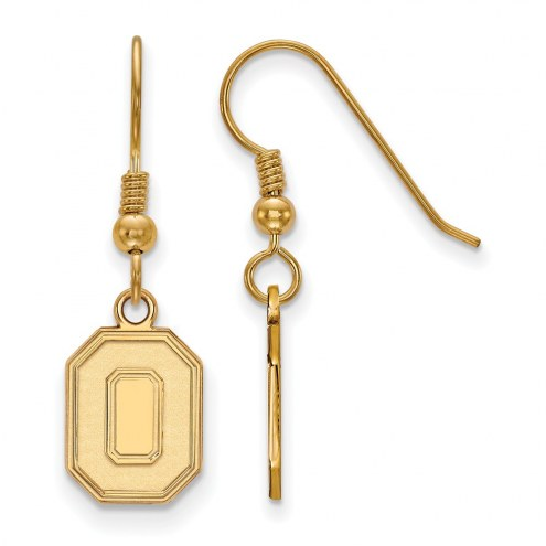 Ohio State Buckeyes Sterling Silver Gold Plated Small Dangle Earrings