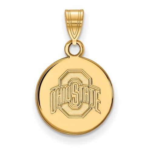 Ohio State Buckeyes Sterling Silver Gold Plated Small Disc Pendant