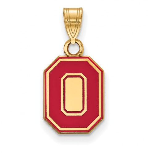 Ohio State Buckeyes Sterling Silver Gold Plated Small Enameled Pendant