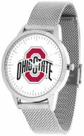 Ohio State Buckeyes Silver Mesh Statement Watch