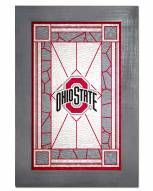 Ohio State Buckeyes Stained Glass with Frame