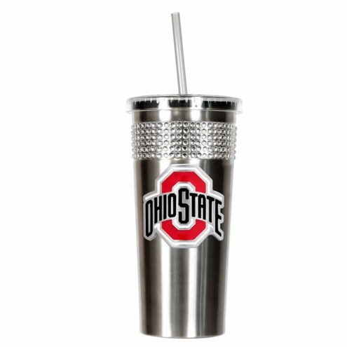 Ohio State Buckeyes Stainless Steel Bling Tumbler with Straw