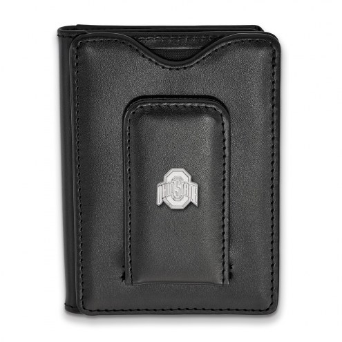 Ohio State Buckeyes Sterling Silver Black Leather Wallet