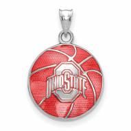 Ohio State Buckeyes Sterling Silver Enameled Basketball Pendant