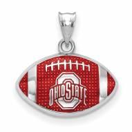 Ohio State Buckeyes Sterling Silver Enameled Football Pendant