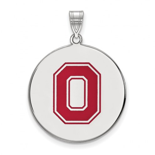 Ohio State Buckeyes Sterling Silver Extra Large Enameled Disc Pendant