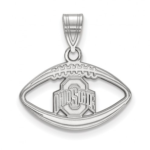 Ohio State Buckeyes Sterling Silver Football Pendant