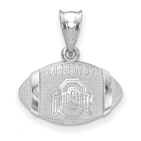 Ohio State Buckeyes Sterling Silver Football with Logo Pendant