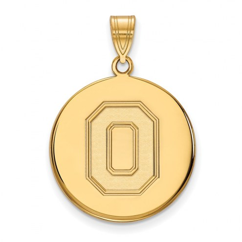 Ohio State Buckeyes Sterling Silver Gold Plated Large Disc Pendant