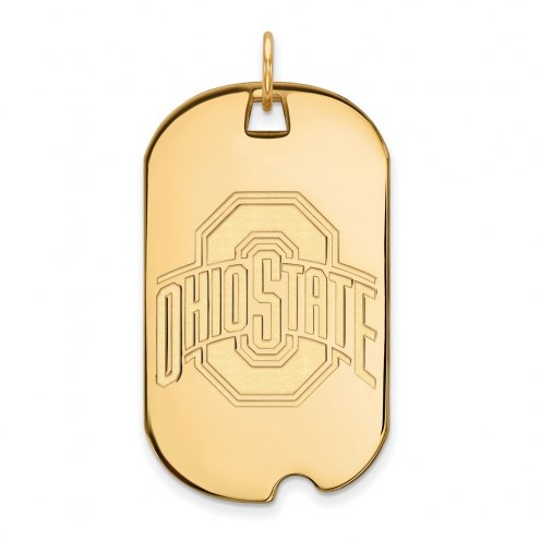 Ohio State Buckeyes Sterling Silver Gold Plated Large Dog Tag